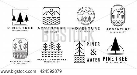 Set Of Mountain Water And Pine Logo Line Art Minimalist Simple Icon Template Design. Bundle Collecti