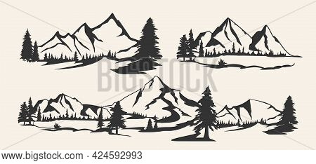 Set Of Mountains. Collection Of Stylized Mountain Landscapes. Black And White Illustration Of Mounta
