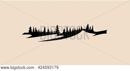 Mountain And Forest Icon Vector, Mountain, Pine Tree Vector Illustration, Pine Tree Vector, Mountain