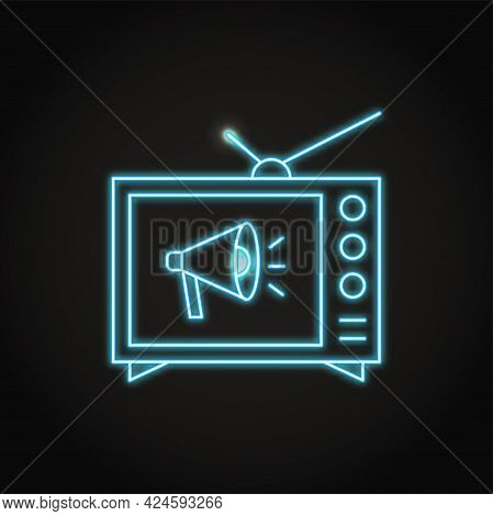 Neon Tv Advertising Icon In Line Style