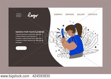 Vector Illustration Of The Search Concept For Business. A Person Looks To The Future And Its Search.