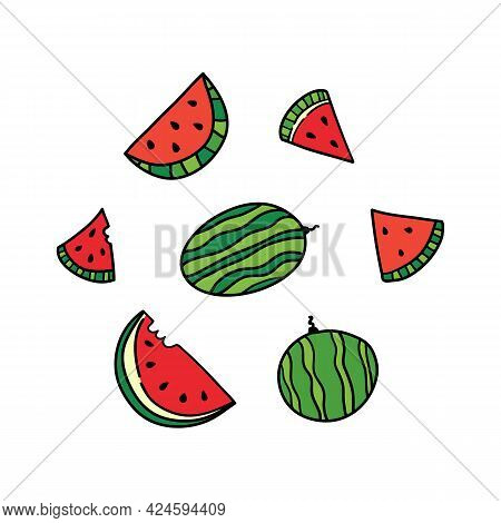 Set, Collection Of Doodle Watermelons Whole And Sliced. Vector Watermelon Icons, Illustration.
