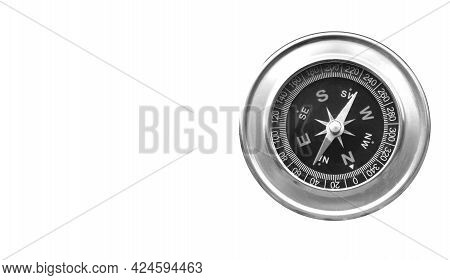 Round Compass  Isolated On White Background For Abstract Image With Place For Text As Symbol Of Tour