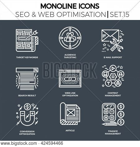 Line Icons Set With Flat Design Of Search Engine Optimization. Target Keywords, Audience, Email Supp