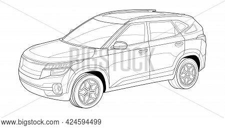 Vector Line Art Car, Concept Design. Vehicle Black Contour Outline Sketch Illustration Isolated On W