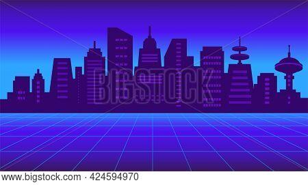 80s Retro Sci-fi Background. Futuristic Neon Night City Silhouette With Skyscrapers. Vector Illustra
