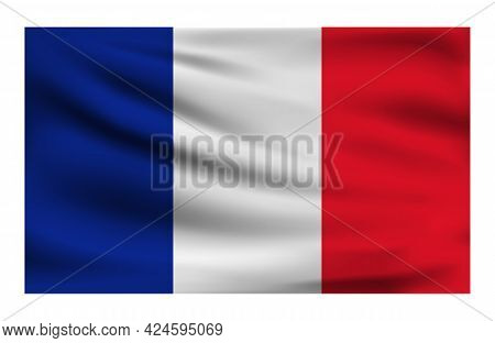 Realistic National Flag Of France. Current State Flag Made Of Fabric. Vector Illustration Of Lying W