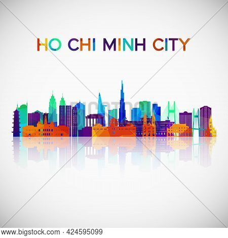 Ho Chi Minh City Skyline Silhouette In Colorful Geometric Style. Symbol For Your Design. Vector Illu