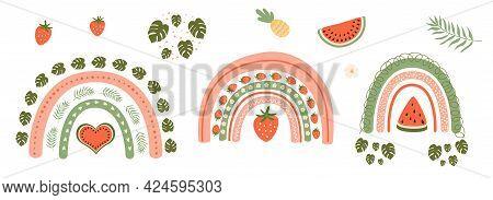 Summer Rainbow Set. Rainbow, Watermelon, Strawberry, Tropical Leaves, Monstera Summer Graphic Elemen