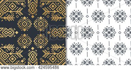 Navajo Elements Set With Two Seamless Patterns And Abstract Aztec Elements, Vector Design. National