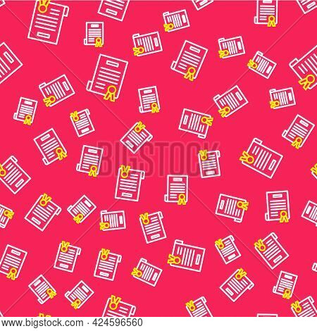 Line Declaration Of Independence Icon Isolated Seamless Pattern On Red Background. Vector