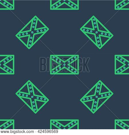 Line National Flag Of The Confederate States Of America Icon Isolated Seamless Pattern On Blue Backg