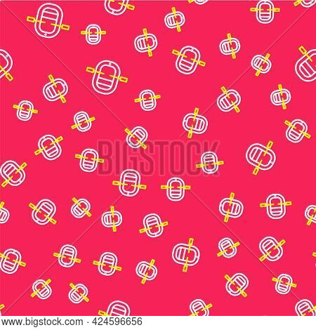 Line Rafting Boat Icon Isolated Seamless Pattern On Red Background. Inflatable Boat With Paddles. Wa
