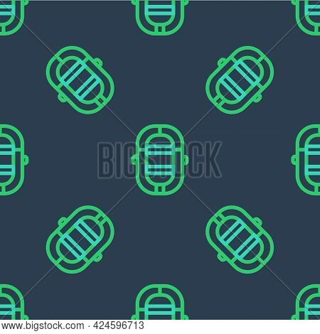 Line Rafting Boat Icon Isolated Seamless Pattern On Blue Background. Inflatable Boat. Water Sports,