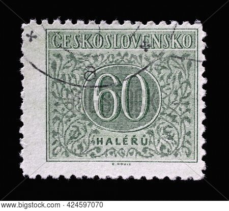 ZAGREB, CROATIA - SEPTEMBER 18, 2014: Stamp printed in Czechoslovakia shows Numbers Value, Postage Due Stamps series, circa 1955