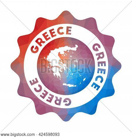 Greece Low Poly Logo. Colorful Gradient Travel Logo Of The Country In Geometric Style. Multicolored