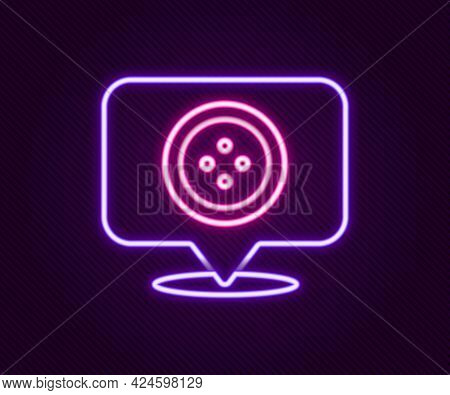 Glowing Neon Line Location Tailor Shop Icon Isolated On Black Background. Colorful Outline Concept.