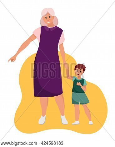 The Older Woman Grandmother Walks With Her Grandson. Elderly People Are Cartoon Characters. Old Age.