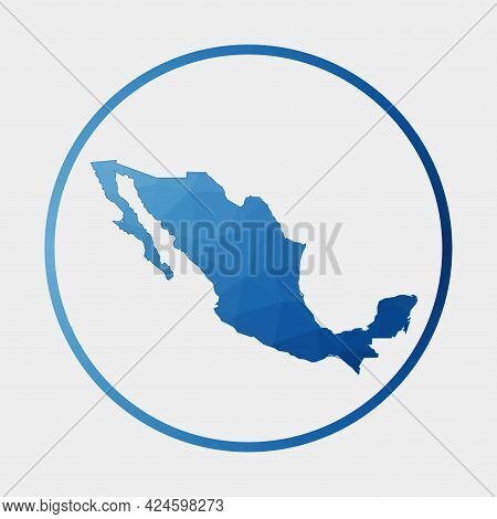 Mexico Icon. Polygonal Map Of The Country In Gradient Ring. Round Low Poly Mexico Sign. Vector Illus