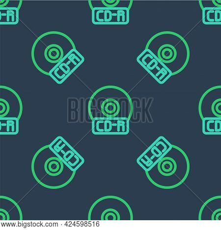 Line Cd Or Dvd Disk Icon Isolated Seamless Pattern On Blue Background. Compact Disc Sign. Vector