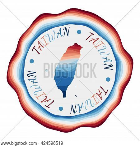 Taiwan Badge. Map Of The Country With Beautiful Geometric Waves And Vibrant Red Blue Frame. Vivid Ro