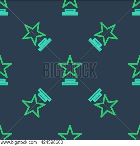Line Movie Trophy Icon Isolated Seamless Pattern On Blue Background. Academy Award Icon. Films And C