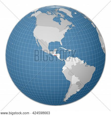 Globe Centered To Republic Of El Salvador. Country Highlighted With Green Color On World Map. Satell