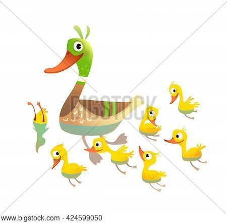 Adorable Duck Family, Mother With Little Yellow Chicks Swimming And Diving. Mom Duck With Her Chicke