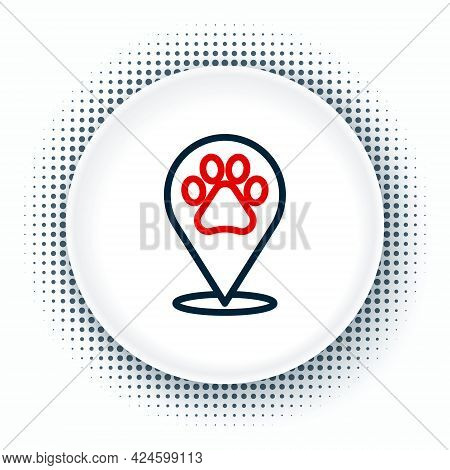 Line Map Pointer With Veterinary Medicine Hospital, Clinic Or Pet Shop For Animals Icon Isolated On