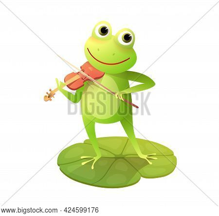 Frog Or Toad Playing Violin On The Waterlily Pod, Fun Animal Concert Cartoon For Kids With Frog Viol