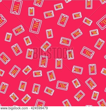 Line Clipboard With Checklist Icon Isolated Seamless Pattern On Red Background. Control List Symbol.