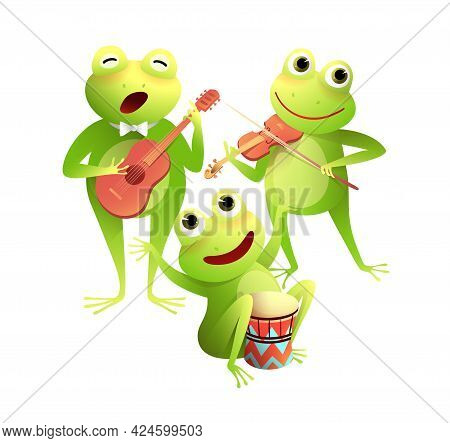 Funny Frogs Concert Singing And Playing Musical Instruments, Happy Toads Or Frogs Playing Drums Viol