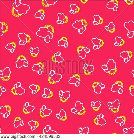 Line Cloud With Rain And Sun Icon Isolated Seamless Pattern On Red Background. Rain Cloud Precipitat
