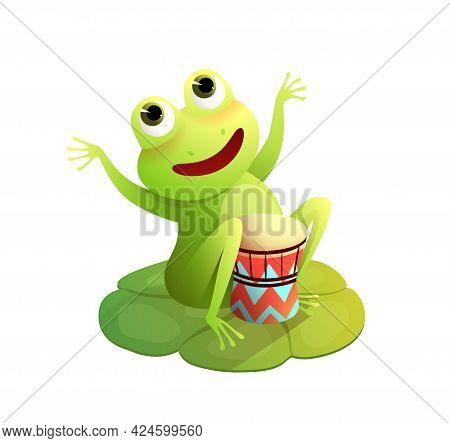 Funny Frog Concert On The Waterlily, Happy Toad Or Frog Playing Drums Musical Instrument Sitting On