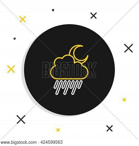 Line Cloud With Rain And Moon Icon Isolated On White Background. Rain Cloud Precipitation With Rain