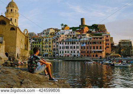 Cinque Terre, Italy, The Picturesque Coastal Village Of Vernazza, Cinque Terre, Italy, Young Man Eur