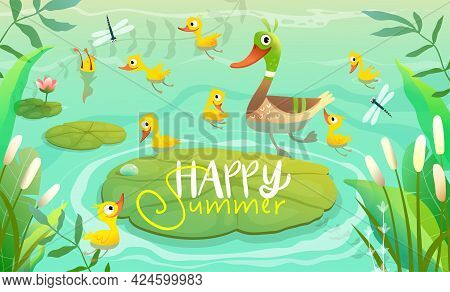Duck Family, Mom Duckling With Little Yellow Chicks Swimming On The Pond Or Lake With Lily Pods And