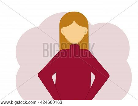Vector Illustration Of A Woman In A Warm Dark Red Knitted Sweater