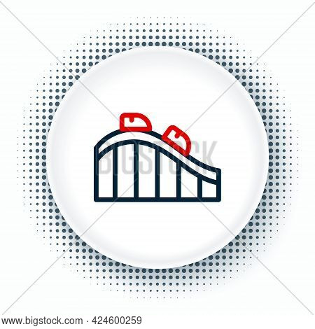 Line Roller Coaster Icon Isolated On White Background. Amusement Park. Childrens Entertainment Playg
