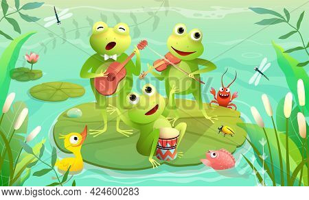 Kids Music Festival On A Lake Or Pond With Frogs Playing Musical Instruments And Singing. Funny Anim