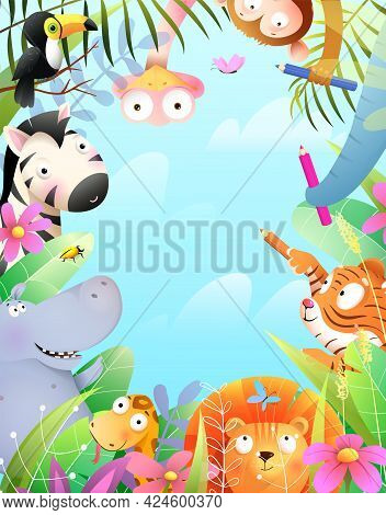 Kids Party Greeting Card With Jungle Animals Celebrating, Jungle Frame With Copyspace. African Zoo A