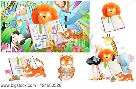Jungle Zoo Animals In Tropical Forest Studying To Read Book And Write. Collection Of Kids Cartoon An