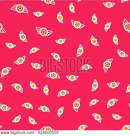 Line Star American Military Icon Isolated Seamless Pattern On Red Background. Military Badges. Army