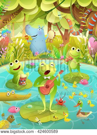 Kids Music Festival On A Lake Or Pond With Frogs Playing Musical Instruments And Singing. Animals Pa