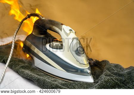 They Forgot To Turn Off The Electric Iron For Ironing Clothes. Careless Handling Of Electrical House
