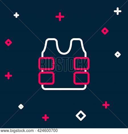 Line Bulletproof Vest For Protection From Bullets Icon Isolated On Blue Background. Body Armor Sign.