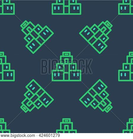 Line Chichen Itza In Mayan Icon Isolated Seamless Pattern On Blue Background. Ancient Mayan Pyramid.