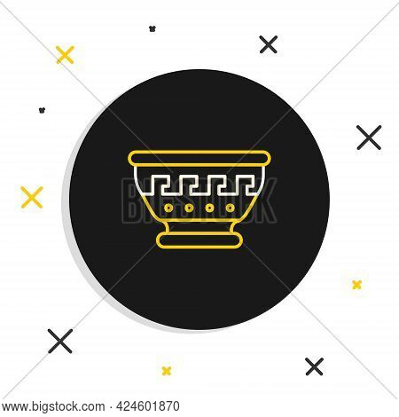 Line Greek Ancient Bowl Icon Isolated On White Background. Antique Amphora With Patterns Collection.