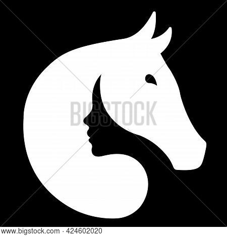 Silhouette Of A White Horse And The Face Of A Black Girl. Design Suitable For Equestrian Logo, Farm,