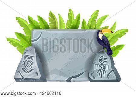 Stone Cartoon Vector Sign Board Illustration, Ancient Maya Gray Rock, Toucan, Banana Leaf Isolated O